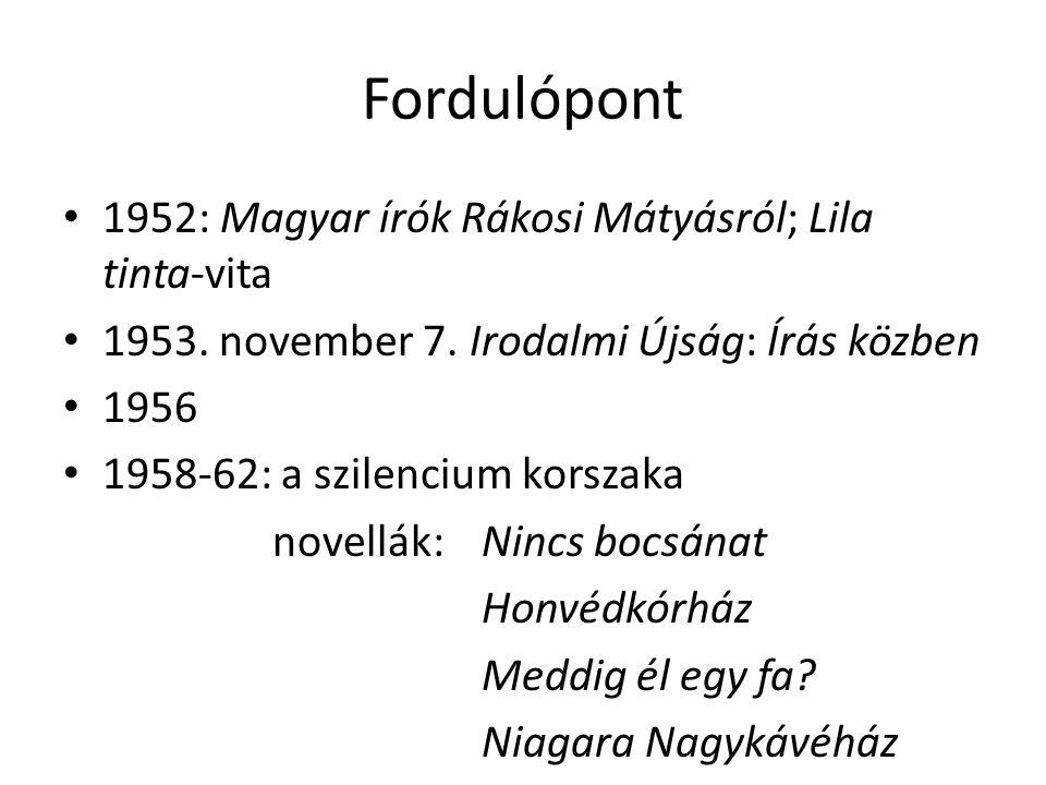 Fordulópont 1952: Magyar írók Rákosi Mátyásról; Lila tinta-vita