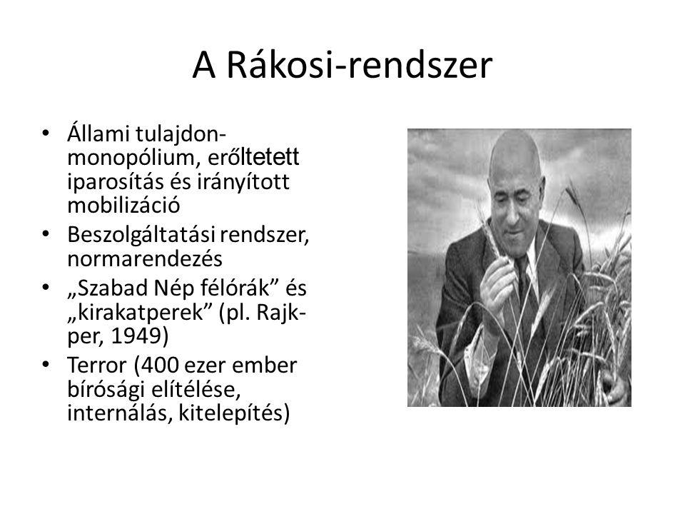 A Rákosi-rendszer Állami tulajdon-monopólium, erőltetett iparosítás és irányított mobilizáció. Beszolgáltatási rendszer, normarendezés.