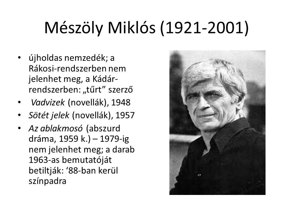 """Mészöly Miklós (1921-2001) újholdas nemzedék; a Rákosi-rendszerben nem jelenhet meg, a Kádár-rendszerben: """"tűrt szerző."""