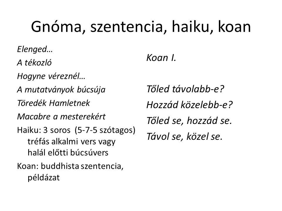 Gnóma, szentencia, haiku, koan