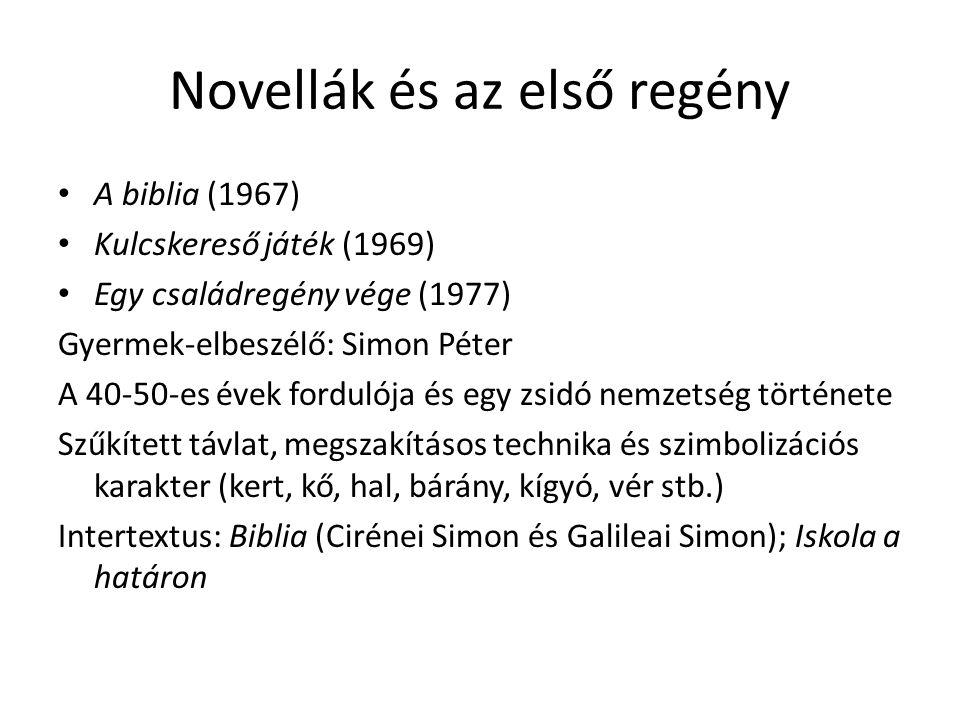 Novellák és az első regény