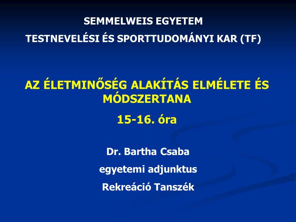 AZ ÉLETMINŐSÉG ALAKÍTÁS ELMÉLETE ÉS MÓDSZERTANA 15-16. óra