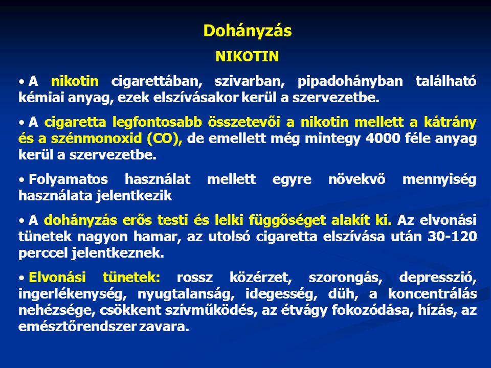 Dohányzás NIKOTIN. A nikotin cigarettában, szivarban, pipadohányban található kémiai anyag, ezek elszívásakor kerül a szervezetbe.