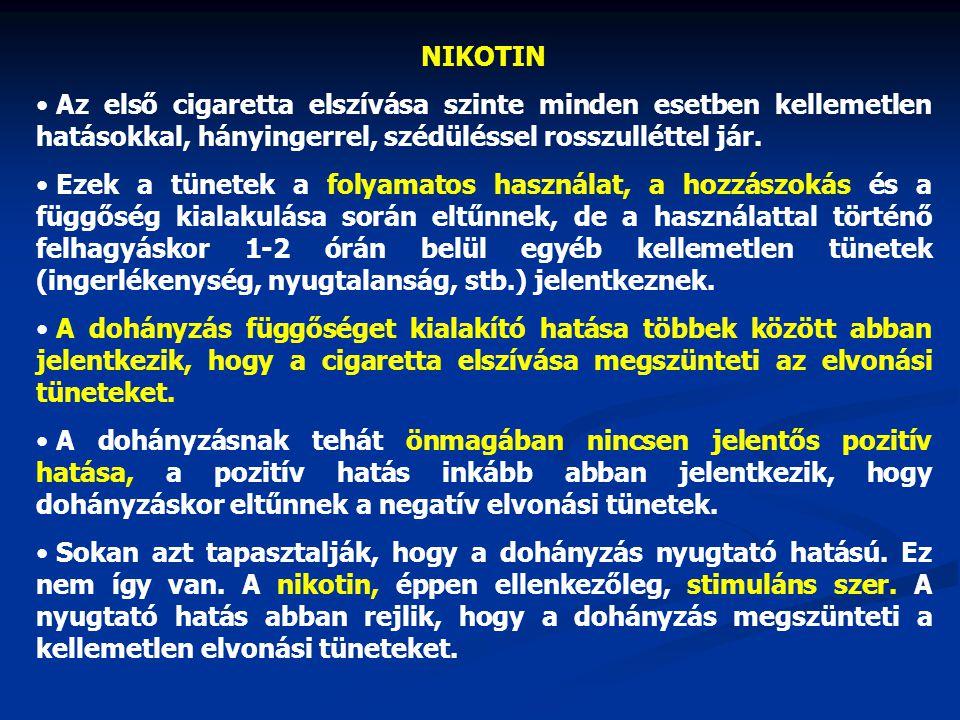 NIKOTIN Az első cigaretta elszívása szinte minden esetben kellemetlen hatásokkal, hányingerrel, szédüléssel rosszulléttel jár.