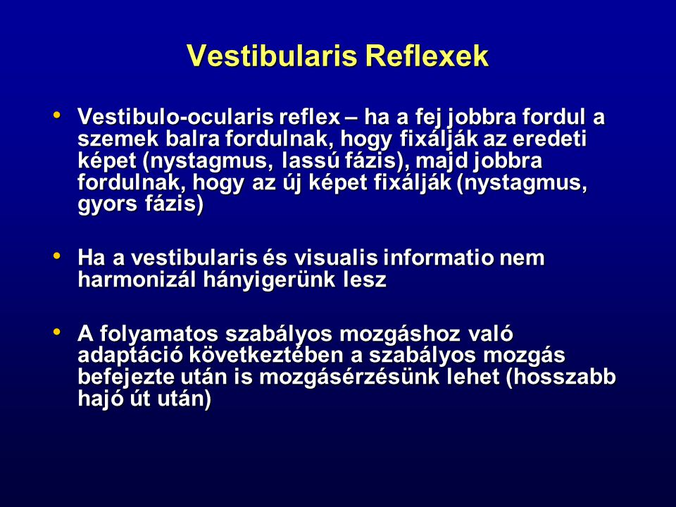 Vestibularis Reflexek