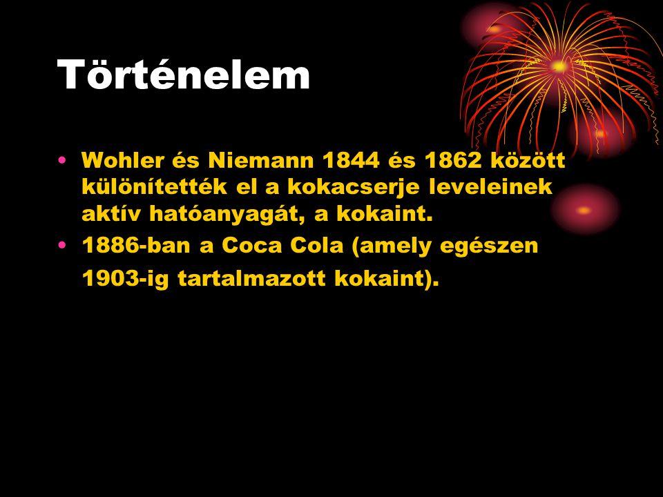 Történelem Wohler és Niemann 1844 és 1862 között különítették el a kokacserje leveleinek aktív hatóanyagát, a kokaint.