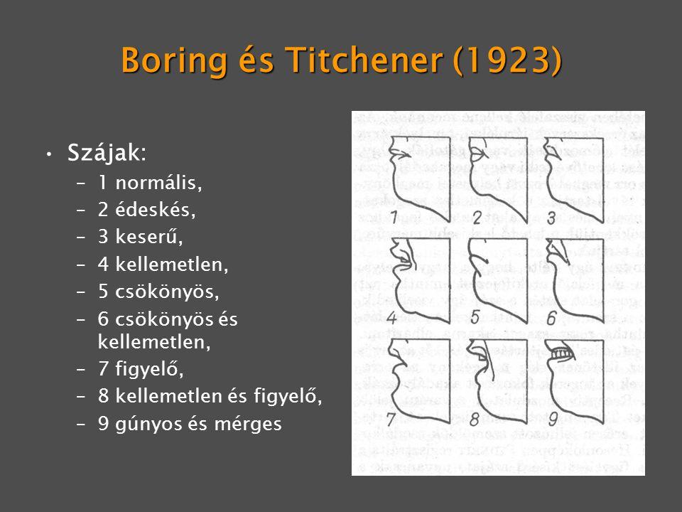 Boring és Titchener (1923) Szájak: 1 normális, 2 édeskés, 3 keserű,