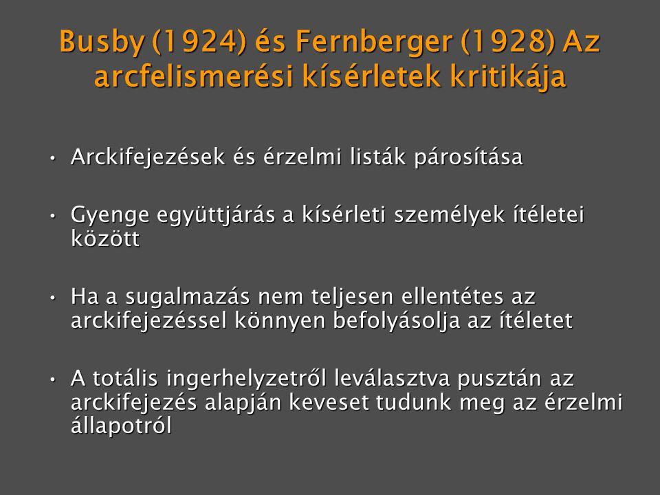 Busby (1924) és Fernberger (1928) Az arcfelismerési kísérletek kritikája