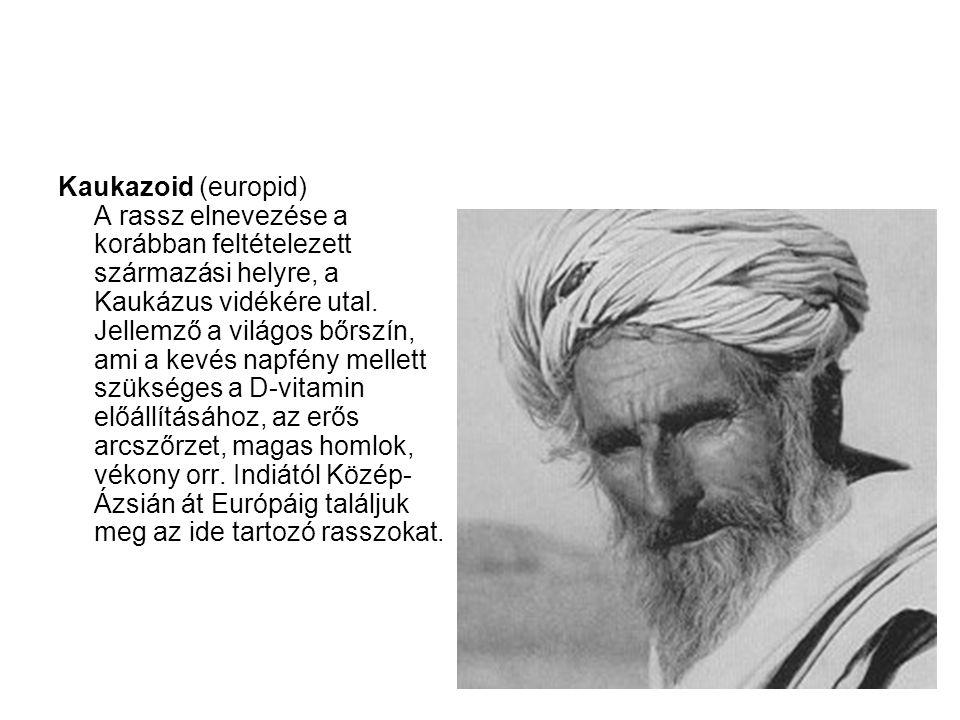 Kaukazoid (europid) A rassz elnevezése a korábban feltételezett származási helyre, a Kaukázus vidékére utal.