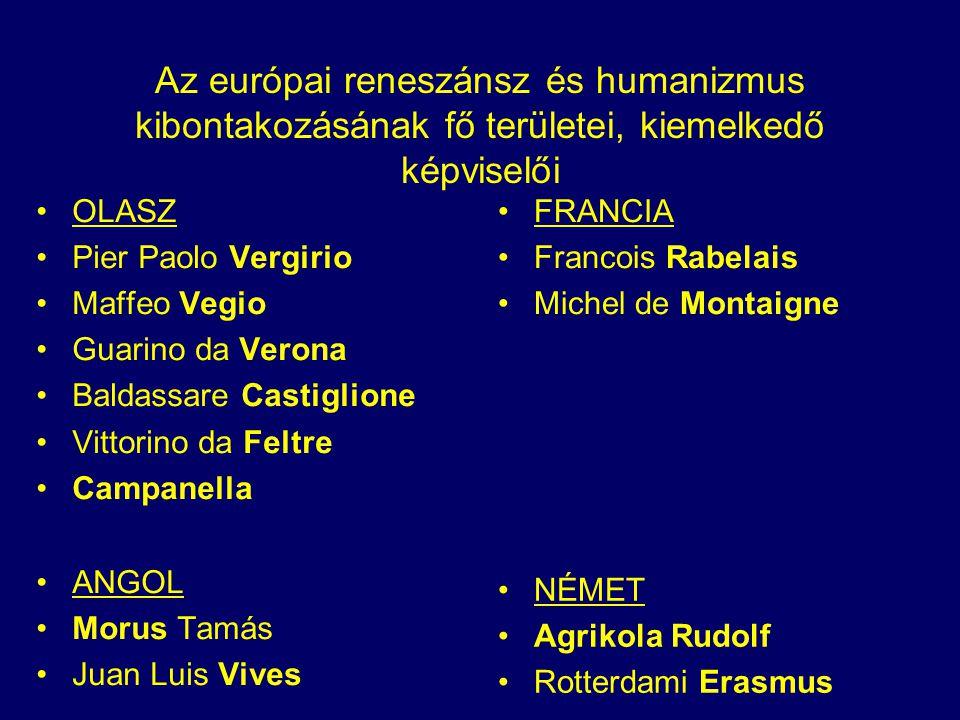 Az európai reneszánsz és humanizmus kibontakozásának fő területei, kiemelkedő képviselői