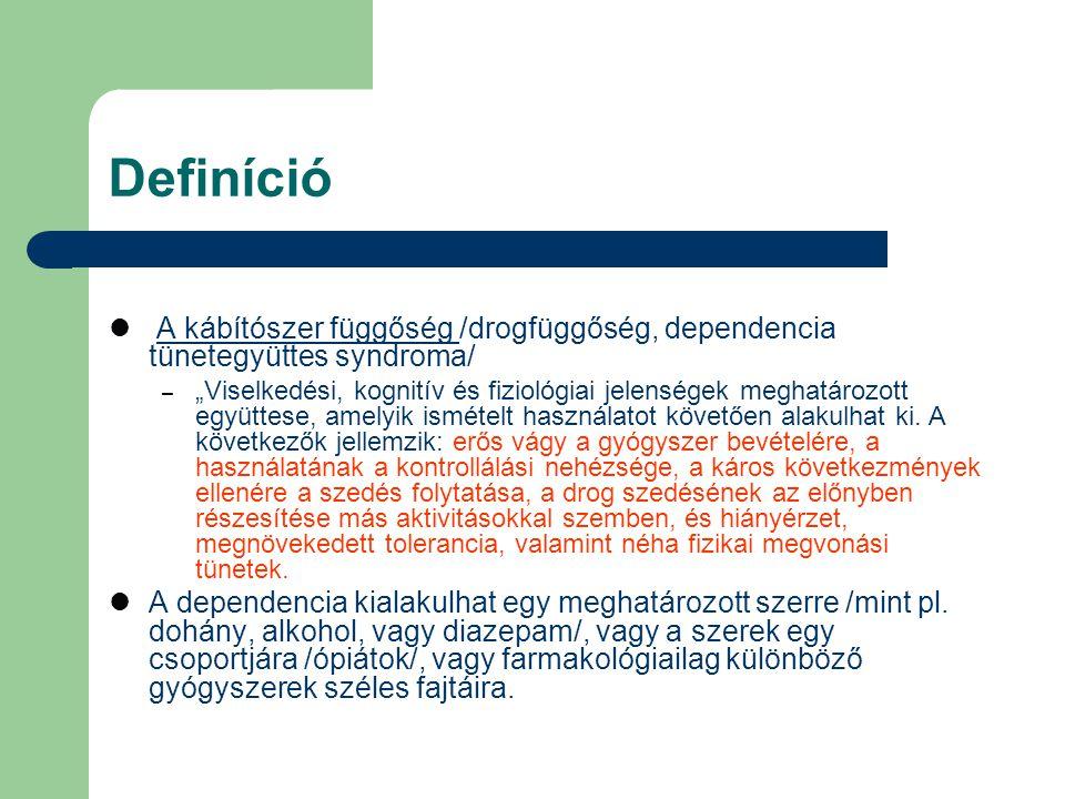 Definíció A kábítószer függőség /drogfüggőség, dependencia tünetegyüttes syndroma/