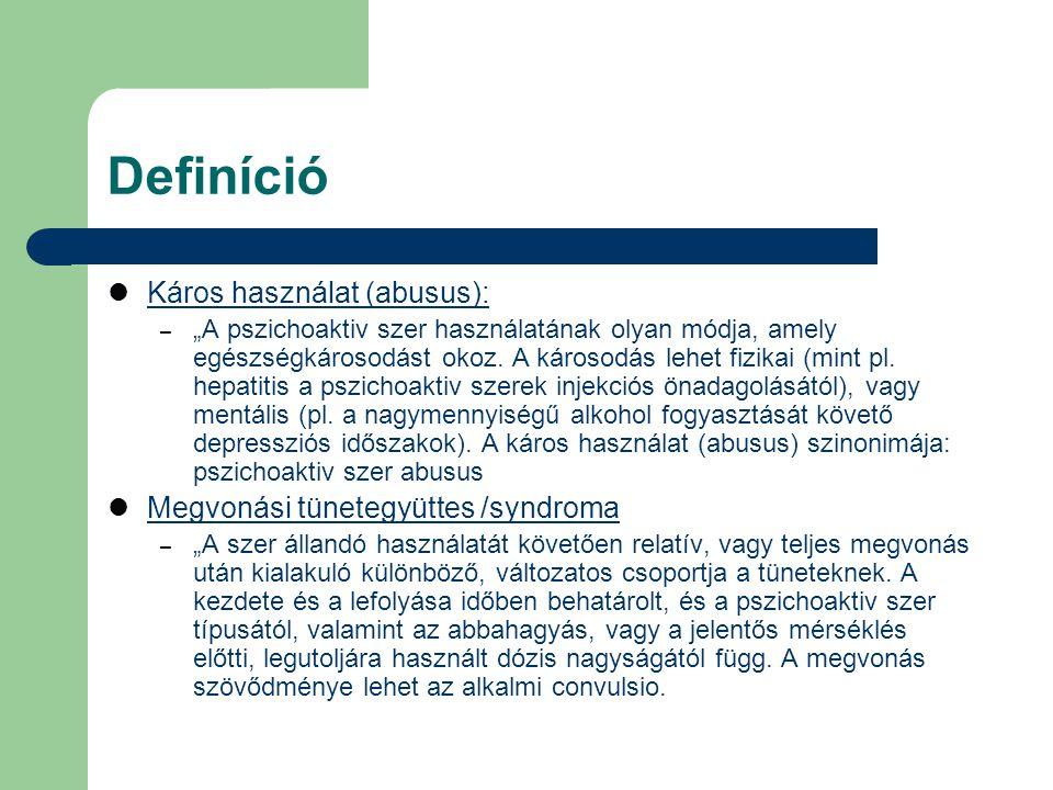 Definíció Káros használat (abusus): Megvonási tünetegyüttes /syndroma