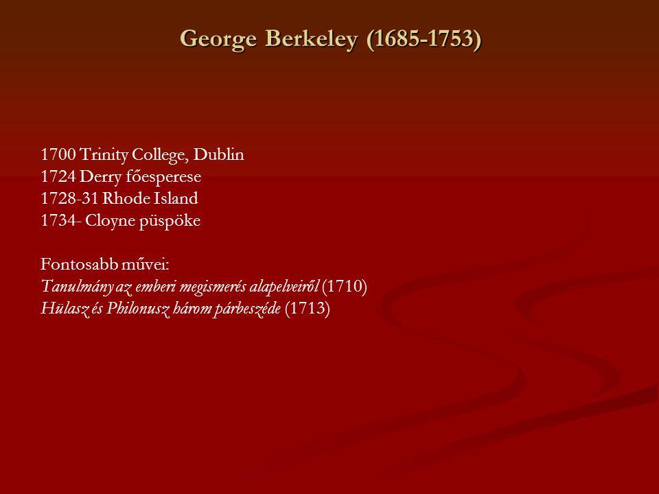 George Berkeley (1685-1753) 1700 Trinity College, Dublin