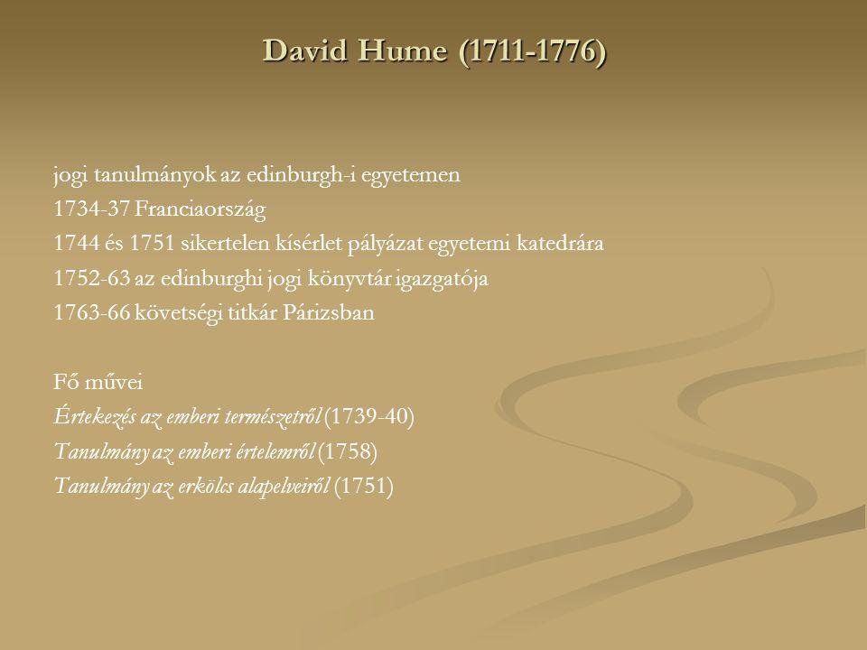 David Hume (1711-1776) jogi tanulmányok az edinburgh-i egyetemen