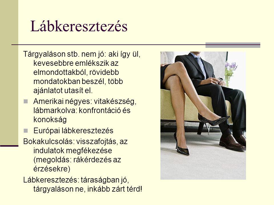 Lábkeresztezés Tárgyaláson stb. nem jó: aki így ül, kevesebbre emlékszik az elmondottakból, rövidebb mondatokban beszél, több ajánlatot utasít el.