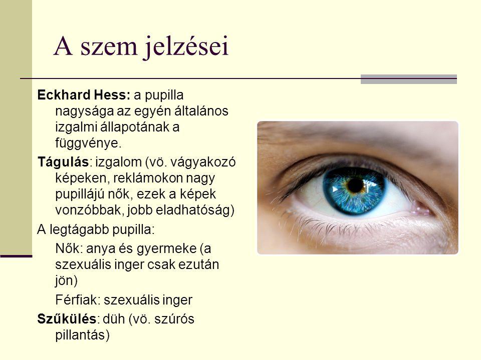 A szem jelzései Eckhard Hess: a pupilla nagysága az egyén általános izgalmi állapotának a függvénye.