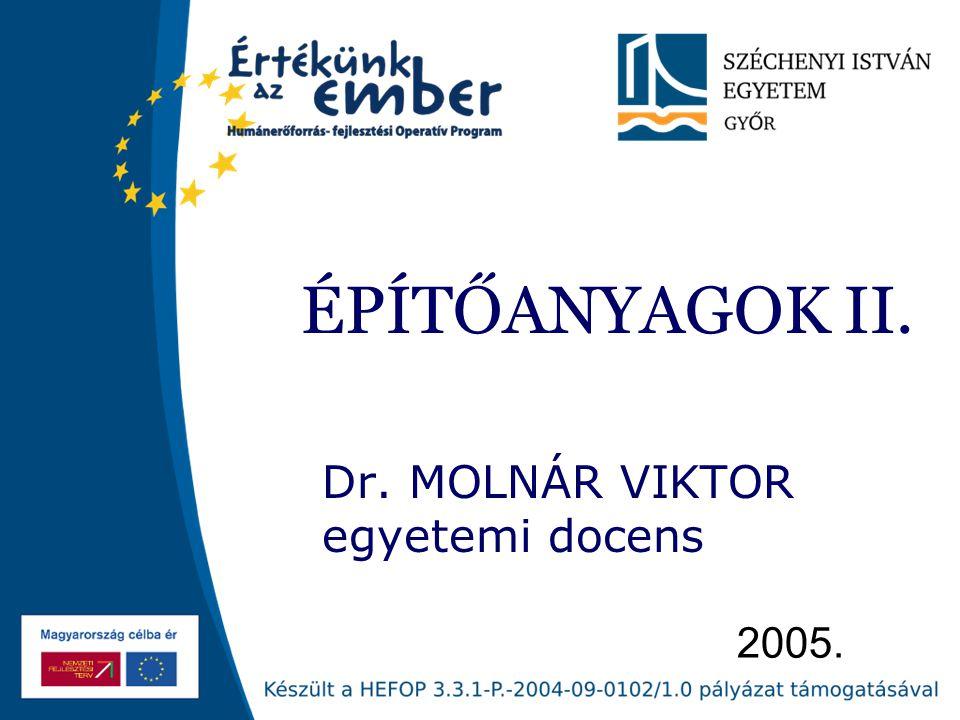 Dr. MOLNÁR VIKTOR egyetemi docens