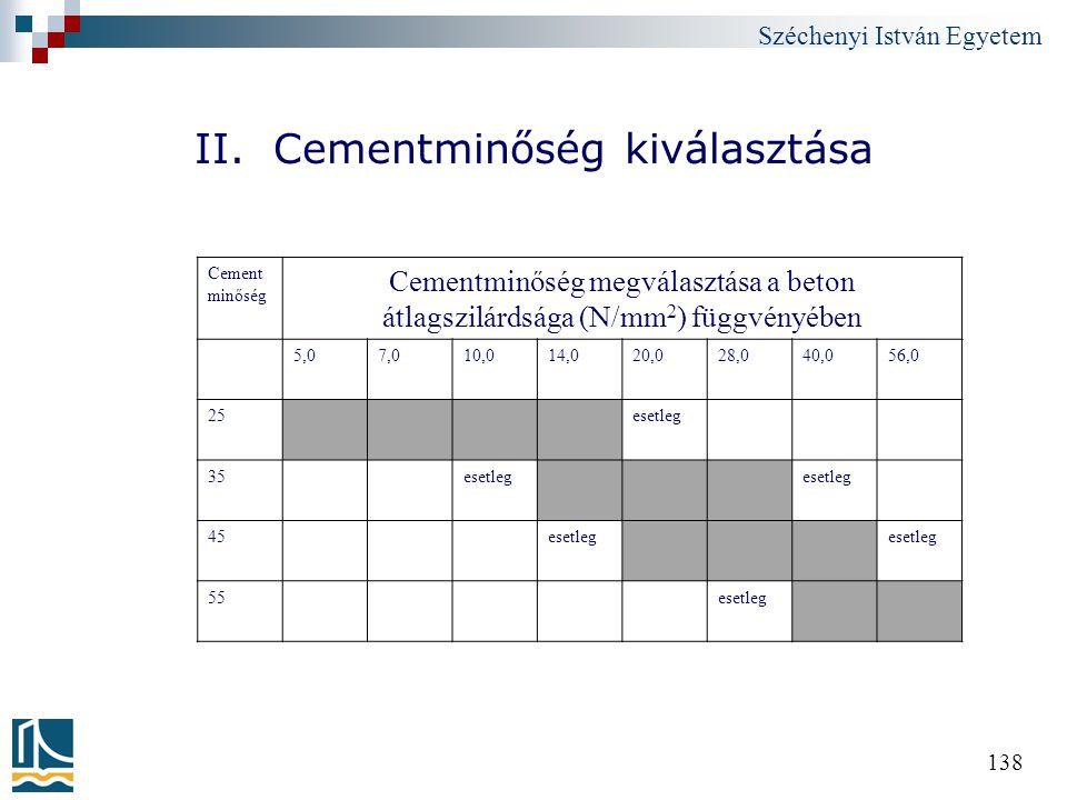 II. Cementminőség kiválasztása