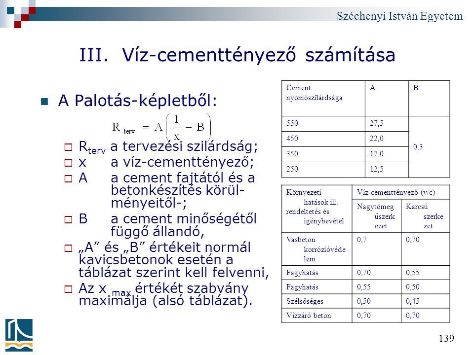 III. Víz-cementtényező számítása