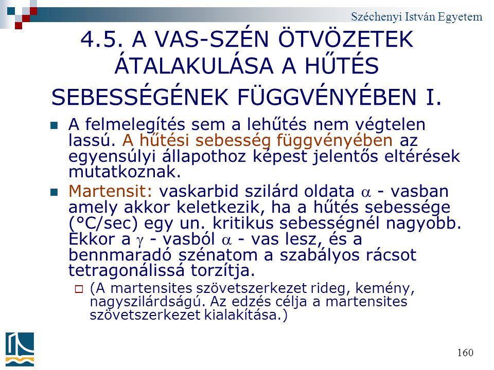 4.5. A VAS-SZÉN ÖTVÖZETEK ÁTALAKULÁSA A HŰTÉS SEBESSÉGÉNEK FÜGGVÉNYÉBEN I.