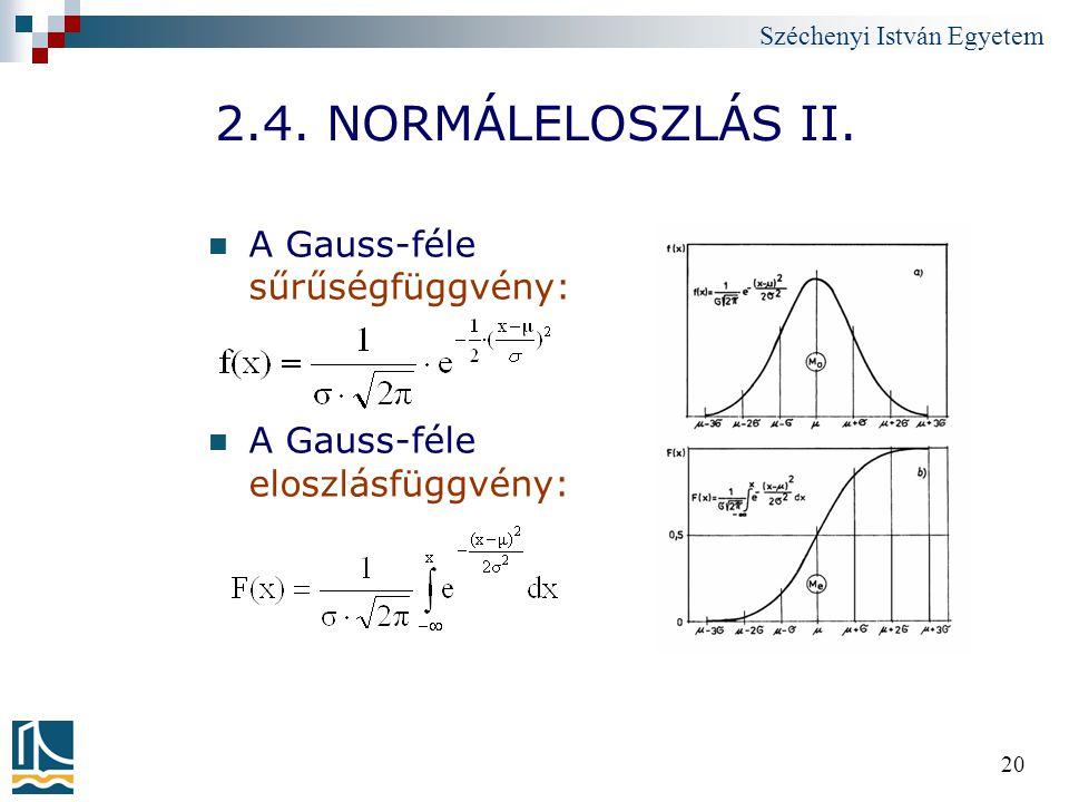2.4. NORMÁLELOSZLÁS II. A Gauss-féle sűrűségfüggvény: