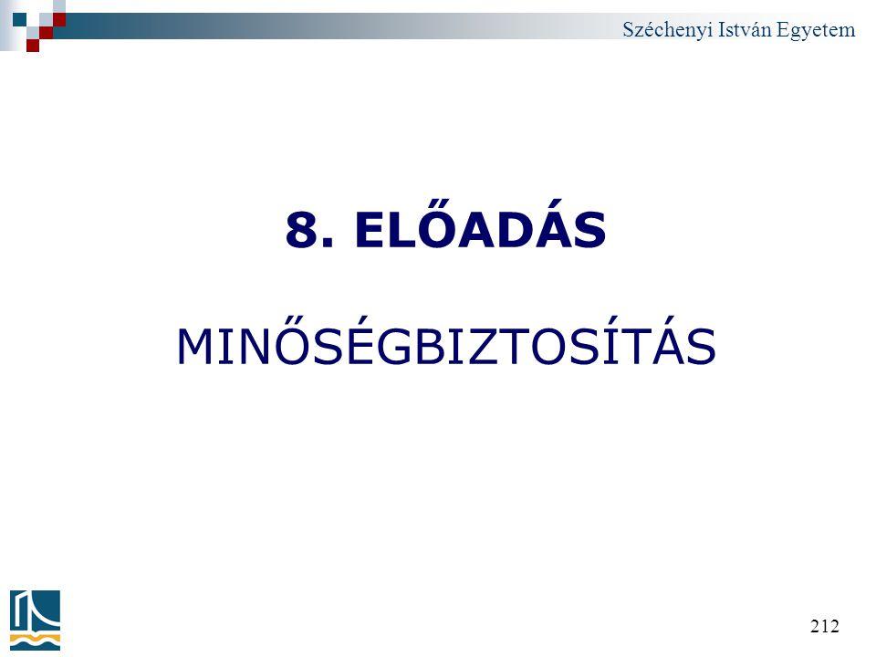 8. ELŐADÁS MINŐSÉGBIZTOSÍTÁS