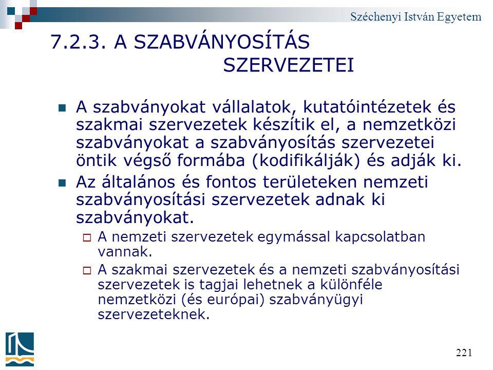 7.2.3. A SZABVÁNYOSÍTÁS SZERVEZETEI