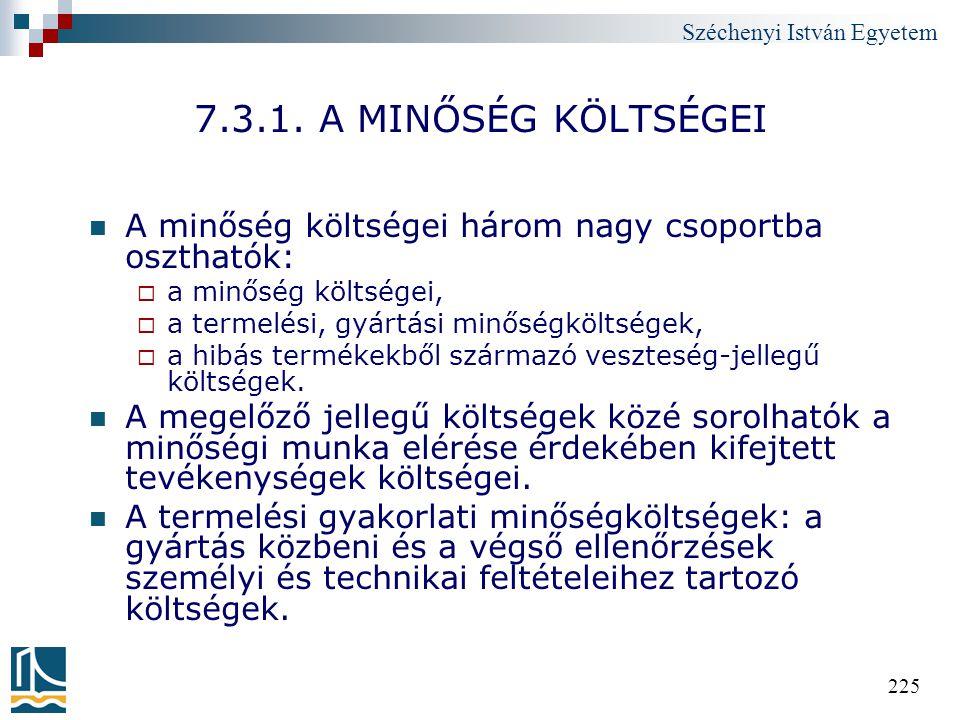 7.3.1. A MINŐSÉG KÖLTSÉGEI A minőség költségei három nagy csoportba oszthatók: a minőség költségei,