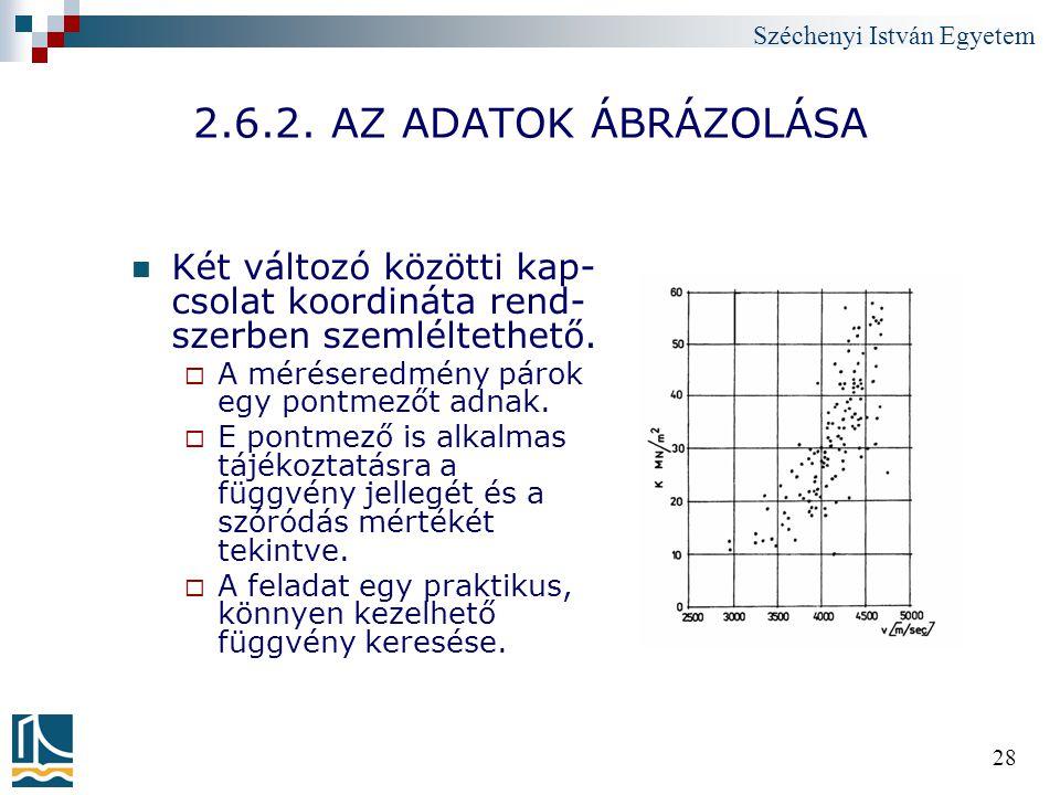 2.6.2. AZ ADATOK ÁBRÁZOLÁSA Két változó közötti kap-csolat koordináta rend-szerben szemléltethető. A méréseredmény párok egy pontmezőt adnak.