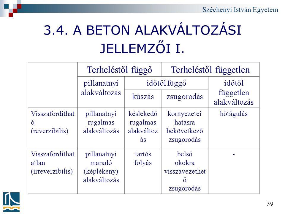 3.4. A BETON ALAKVÁLTOZÁSI JELLEMZŐI I.