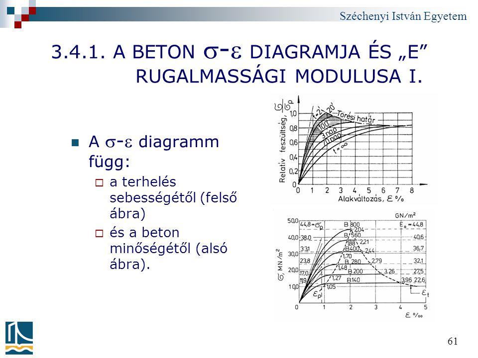 """3.4.1. A BETON - DIAGRAMJA ÉS """"E RUGALMASSÁGI MODULUSA I."""
