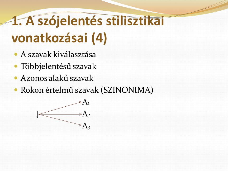 1. A szójelentés stilisztikai vonatkozásai (4)