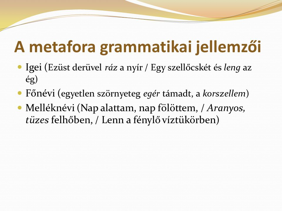 A metafora grammatikai jellemzői