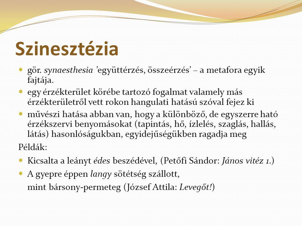 Szinesztézia gör. synaesthesia 'együttérzés, összeérzés' – a metafora egyik fajtája.
