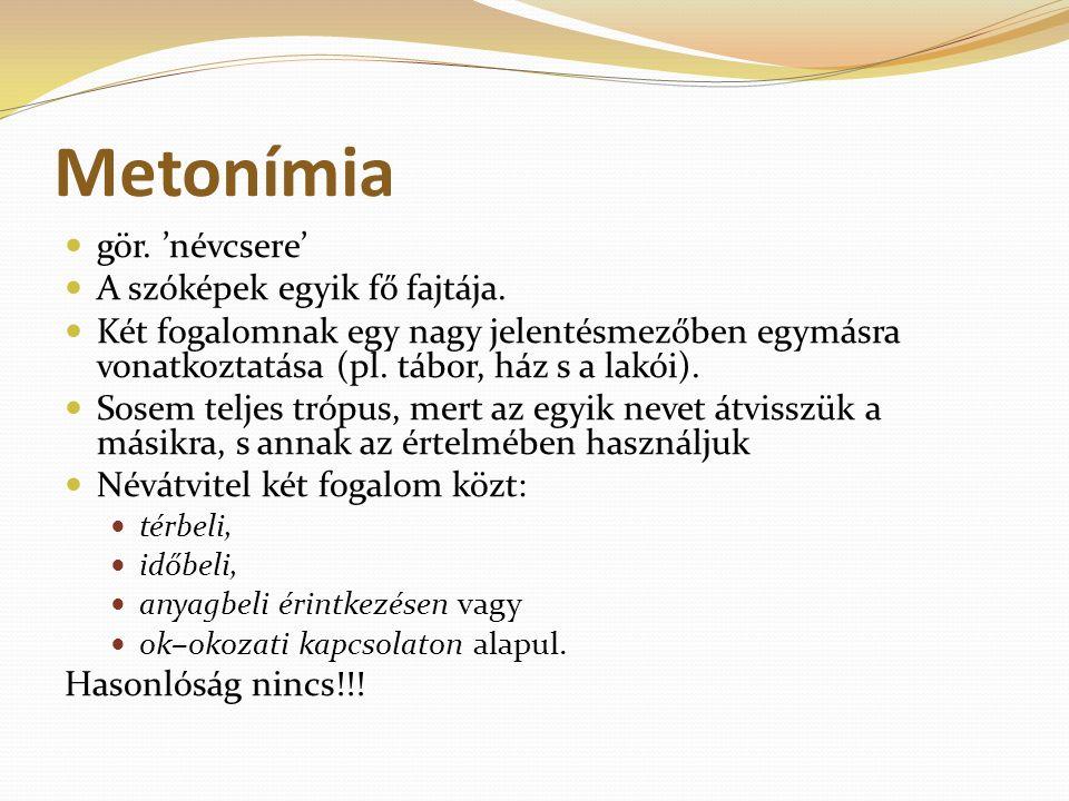 Metonímia gör. 'névcsere' A szóképek egyik fő fajtája.