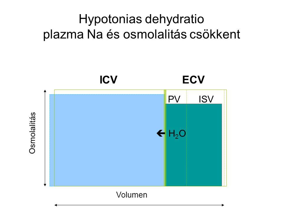 Hypotonias dehydratio plazma Na és osmolalitás csökkent
