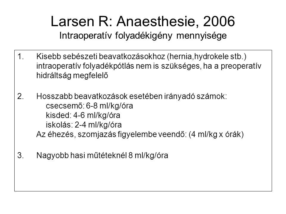 Larsen R: Anaesthesie, 2006 Intraoperatív folyadékigény mennyisége