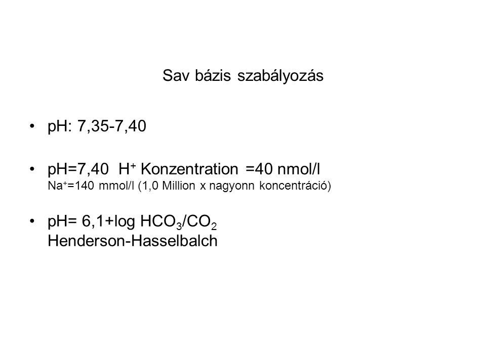 Sav bázis szabályozás pH: 7,35-7,40. pH=7,40 H+ Konzentration =40 nmol/l Na+=140 mmol/l (1,0 Million x nagyonn koncentráció)