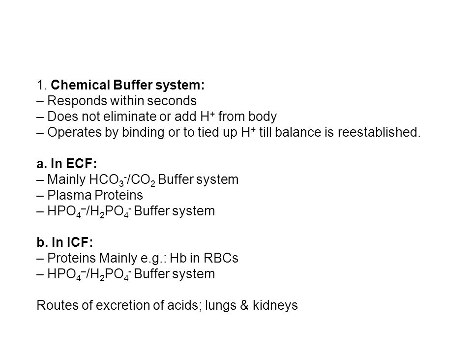 1. Chemical Buffer system: