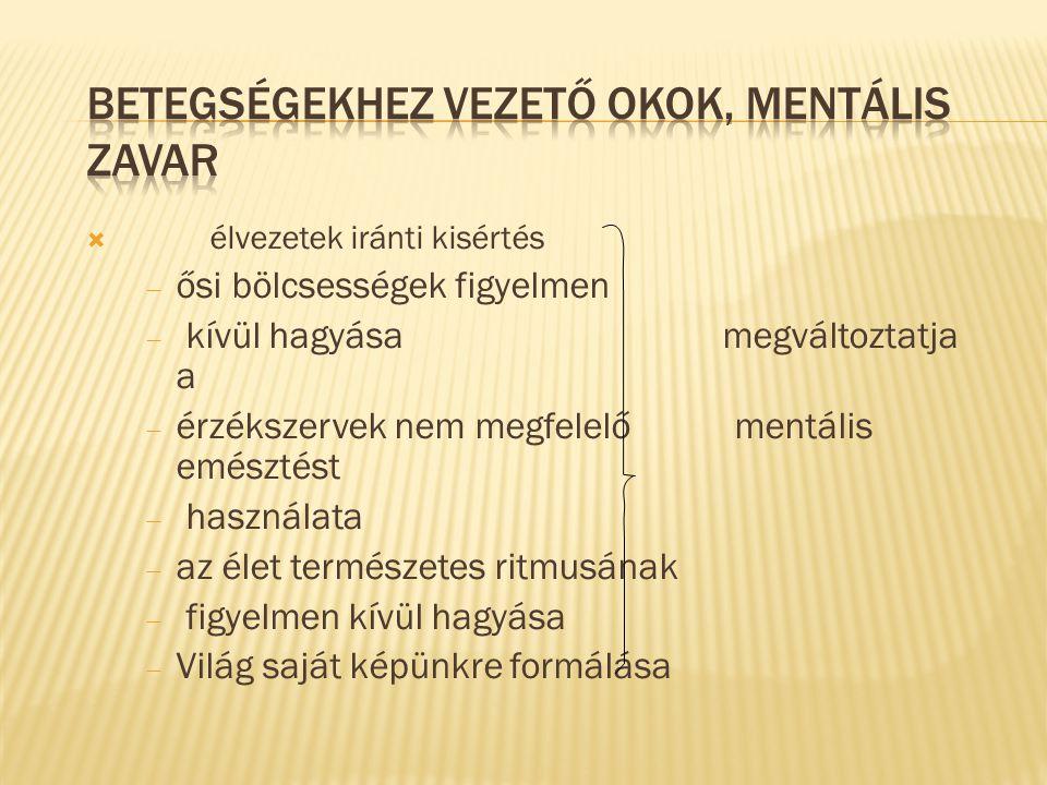 Betegségekhez vezető okok, mentális zavar