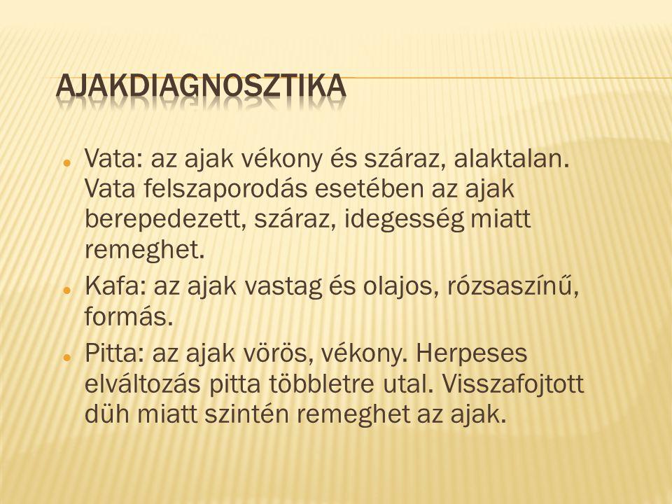 Ajakdiagnosztika Vata: az ajak vékony és száraz, alaktalan. Vata felszaporodás esetében az ajak berepedezett, száraz, idegesség miatt remeghet.