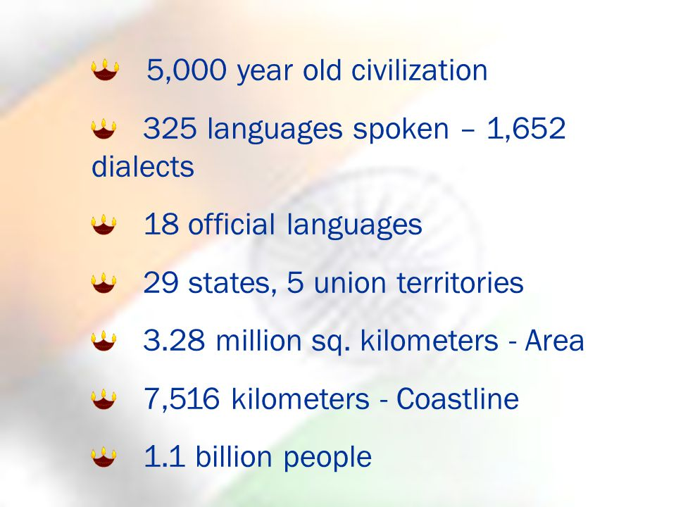 5,000 year old civilization 325 languages spoken – 1,652 dialects