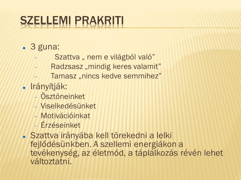 Szellemi prakriti 3 guna: Irányítják:
