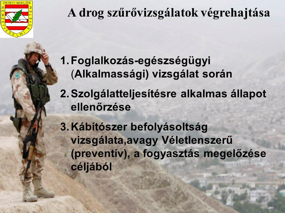 A drog szűrővizsgálatok végrehajtása