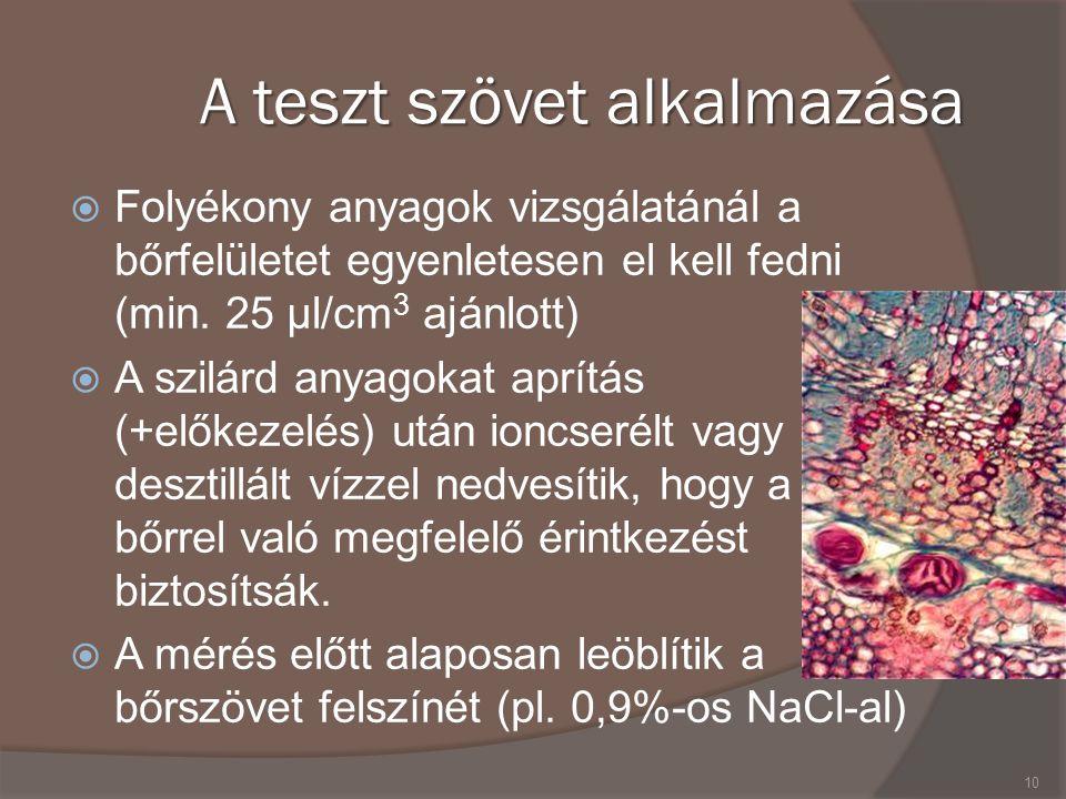 A teszt szövet alkalmazása