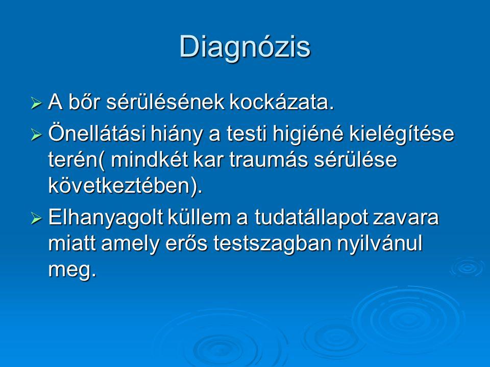 Diagnózis A bőr sérülésének kockázata.