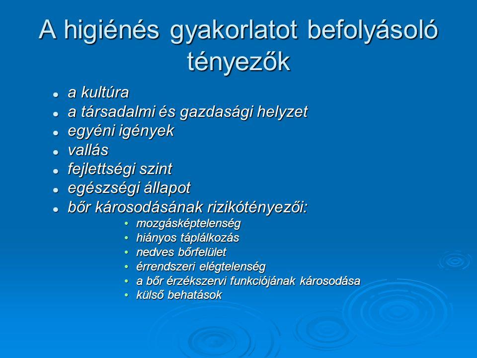 A higiénés gyakorlatot befolyásoló tényezők