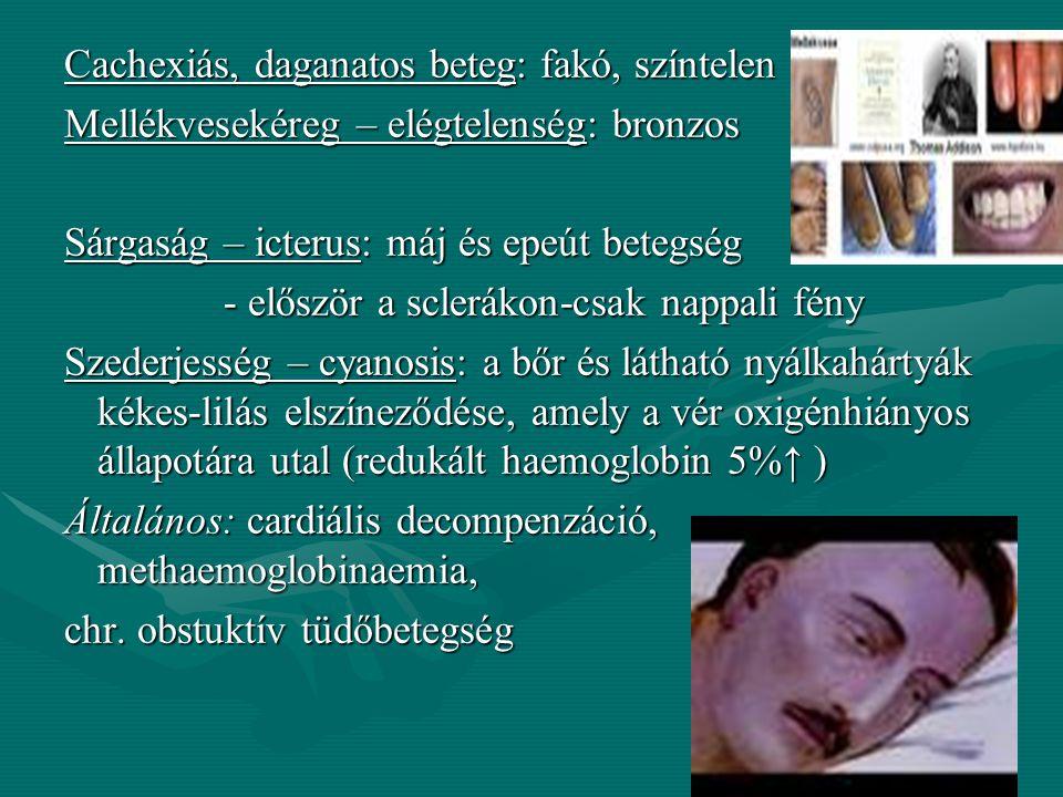 Cachexiás, daganatos beteg: fakó, színtelen Mellékvesekéreg – elégtelenség: bronzos Sárgaság – icterus: máj és epeút betegség - először a sclerákon-csak nappali fény Szederjesség – cyanosis: a bőr és látható nyálkahártyák kékes-lilás elszíneződése, amely a vér oxigénhiányos állapotára utal (redukált haemoglobin 5%↑ ) Általános: cardiális decompenzáció, methaemoglobinaemia, chr.