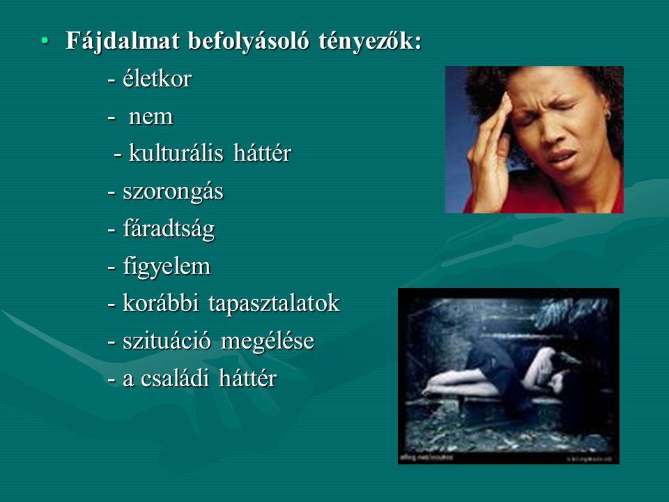 Fájdalmat befolyásoló tényezők: