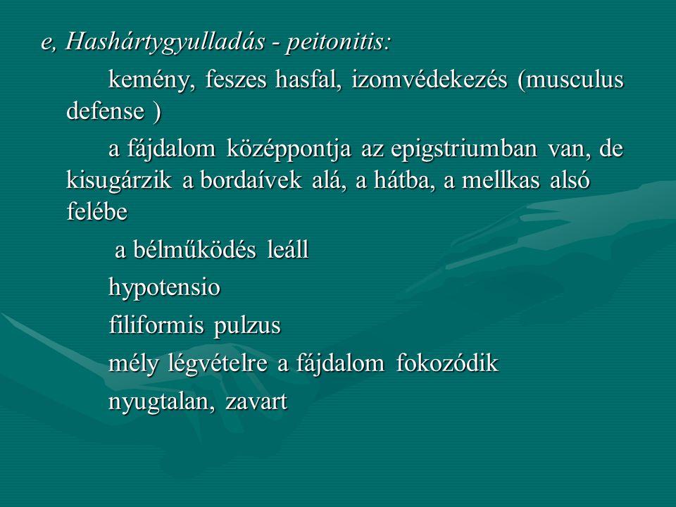 e, Hashártygyulladás - peitonitis: kemény, feszes hasfal, izomvédekezés (musculus defense ) a fájdalom középpontja az epigstriumban van, de kisugárzik a bordaívek alá, a hátba, a mellkas alsó felébe a bélműködés leáll hypotensio filiformis pulzus mély légvételre a fájdalom fokozódik nyugtalan, zavart